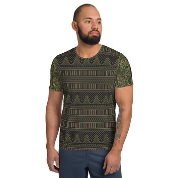 Faux Military Christmas Camo Sweater Men's Athletic T-shirt
