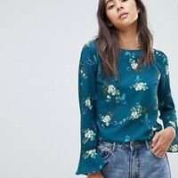Oasis Butterfly Print Fluted Sleeve Top at asos.com