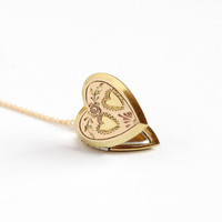 Vintage 10k Gold Filled Double Heart Locket Necklace - Late Art Deco 1940s Sweetheart Pendant Romantic Rose Flower Floral Photo Jewelry