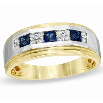 Men's Square-Cut Lab-Created Blue Sapphire and 1/5 CT. T.W. Diamond Ring