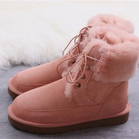 """Ugg ""Wool Snow Boots winter women Lace boots/Orange"