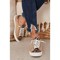 Keep On Smiling Leopard Sneakers (Taupe)