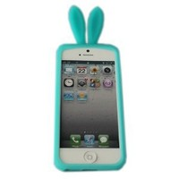 eFuture Clear Green Bunny Rabbit Ear with Furry Tail Stand Flex Matte TPU Case fit for the new Iphone5 5G +eFuture's nice Keyring