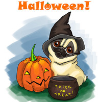 """Funny Halloween card with Pug. Printable greeting card, Instant Download 5 x 7"""" JPG file, Happy Halloween. Funny sketch drawing."""