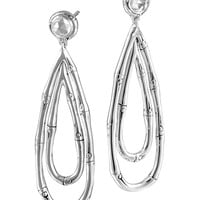 Bamboo Silver Drop Earrings with White Topaz - John Hardy