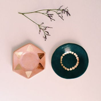 MADE TO ORDER light pink porcelain hexagon ring dish with gold triangles