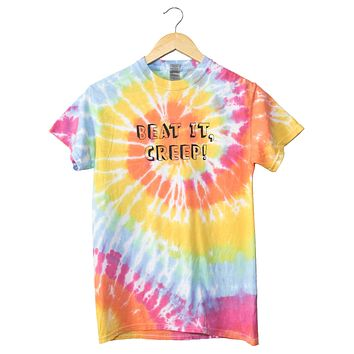 Beat It, Creep! Pastel Rainbow Tie-Dye Unisex Tee