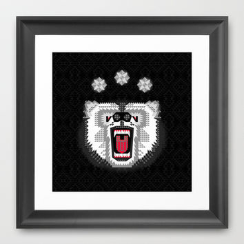 Polar Bear Geometric Framed Art Print by chobopop