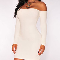 White Off-The-Shoulder Long Sleeves Bodycon Dress