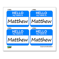 Matthew Hello My Name Is - Sheet of 4 Stickers