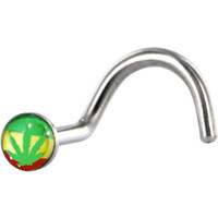 Surgical Steel Color RASTA GANGA LEAF Logo Nose Ring   Body Candy Body Jewelry