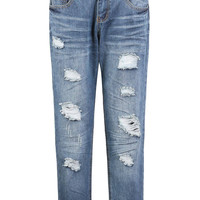 Blue Ripped Design Jeans with Pockets