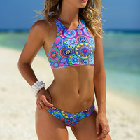 Geometric Printed Halter Neck Two Piece Bikini