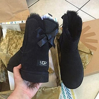UGG Winter Stylish Women Wool A Bowknot Snow Boots Brown