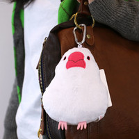 Strapya World : Soft and Downy Bird Plush Doll Reel Pass Case (Bird-Collection Series) (Java Sparrow)