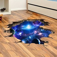 Amaonm Creative 3D Blue Cosmic Galaxy Wall Decals Removable PVC Magic 3D Milky Way Outer Space Planet Window Wall Stickers Murals Wallpaper Decor for Home Walls Floor Ceiling Boys Room Kids Bedroom