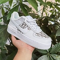 Dior x Nike Air Force 1 Women's Low-Top Flat Sneakers Shoes