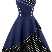 Atomic Black and Navy Rockabilly Cocktail Dress