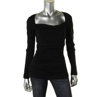 Narciso Rodriguez Womens Wool Ruched Pullover Top