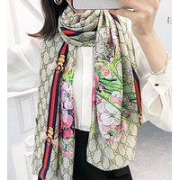 Onewel GUCCI fashion stripe more letter floral print scarf women