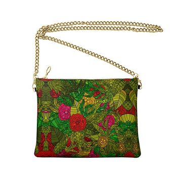 Hand Drawn Floral Seamless Pattern Crossbody Bag With Chain by The Photo Access