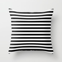 Black White Stripes Throw Pillow by Beautiful Homes   Society6