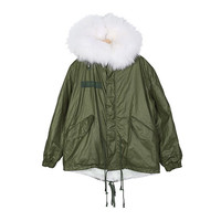 Raccoon Fur Hooded Anorak Jacket