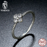 925 Sterling Silver Clear Simple Finger Ring for Women Fashion Jewelry