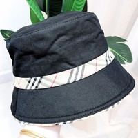 Burberry New fashion plaid couple cap fisherman Hat Black