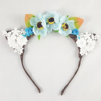 Blue flower crown, Cat ears, Floral crown, Bohemian, Hippie, Anime, Cosplay, Cat ear headband, Cat ears headband, Anime cat ears, Festival