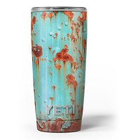 Teal Painted Rustic Metal - Skin Decal Vinyl Wrap Kit compatible with the Yeti Rambler Cooler Tumbler Cups