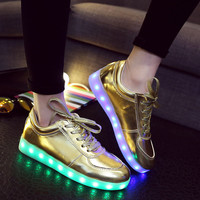 Silver Shoes Round-toe Low-cut Flat Lightning Casual LED Lights [4964955268]