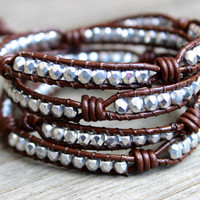 Beaded Leather Wrap Bracelet 4 Wrap with Silver Czech Glass Beads on Natural Tan Brown or Dark Brown Leather with Knots