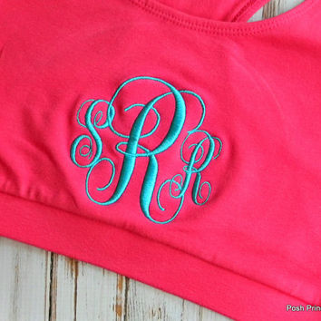Monogram Sports Bra Embroidered Monogrammed Bridesmaid Gift Personalized Gifts Girls Teens Women Cheer Gymnastics Dance Wear