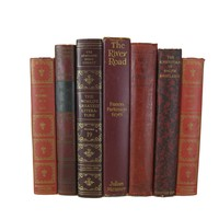 Decorative Book Stack in Red Tones, S/7