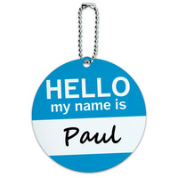 Paul Hello My Name Is Round ID Card Luggage Tag