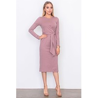 Womens Casual Front knot jersey midi dress