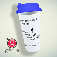 One Direction Song Truly Madly Deeply Crazy Love Birds Quote Double Wall Plastic Mug