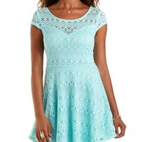 Laser-Cut Crochet Skater Dress by Charlotte Russe