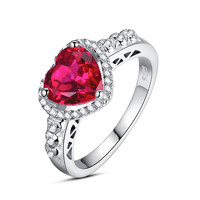Sterling Silver 2.5 Carats Heart-Shape Ruby Engagement Ring