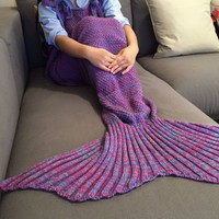 Exquisite Comfortable Drawstring Style Knitted Mermaid Design Throw Blanket (COLORMIX) in Blankets & Throws | DressLily.com