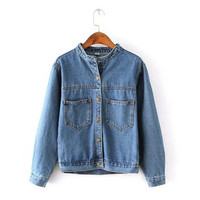 Fashion Autumn Vintage Women's Jeans Loose Denim Jacket