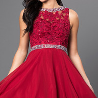 Short Lace Bodice Homecoming Dress