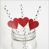 Party Straws, Red Glitter Heart, Black And White, Polka Dots, Valentines Day, Bridal Shower Decor, Wedding Supply, Set Of 12, FREE SHIPPING
