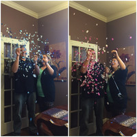 """Twin Gender reveal confetti balloon. One 24"""" Black balloons with Pink and blue confetti. Priority Mail"""