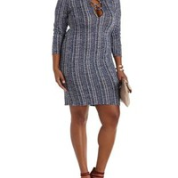 Plus Size Navy Combo Long Sleeve Lace-Up Dress by Charlotte Russe