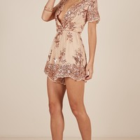 Baby Come Back Playsuit in rose gold sequins Produced By SHOWPO