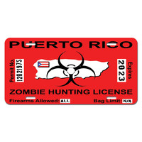 Puerto Rico Rican Zombie Hunting License Permit Red - Biohazard Response Team Novelty License Plate