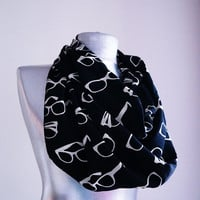 Handmade Glasses Infinity Scarf - Black White - Spring Autumn Scarf