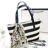 Bags Navy Stripes Canvas Scarf Decoration Shoulder Bags [6582706567]